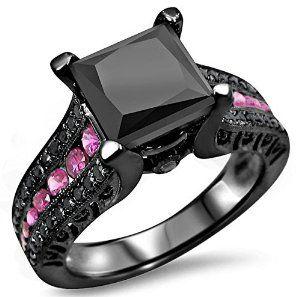 @blackdiamondgem 2.85ct Princess Cut Black Diamond Pink Sapphire Engagement Ring 14k Black Rhodium Plating over White Gold by Front Jewelers - See more at: http://blackdiamondgemstone.com/jewelry/wedding-anniversary/engagement-rings/285ct-princess-cut-black-diamond-pink-sapphire-engagement-ring-14k-black-rhodium-plating-over-white-gold-com/#!prettyPhoto