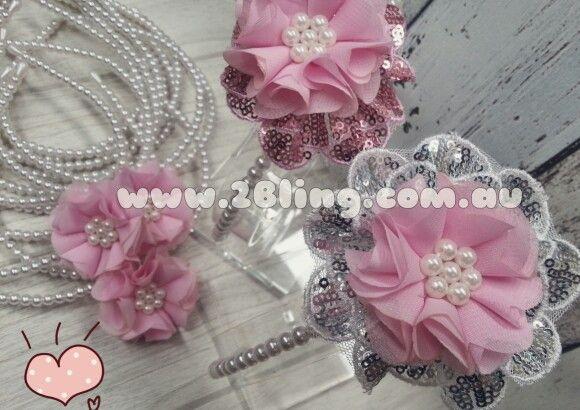 Girl headbands with pearl headbands and pearl beadig fabric flower. www.2Bling.com.au  #pearl #fabricflower #girlinspiration #diycraft #craftymummy