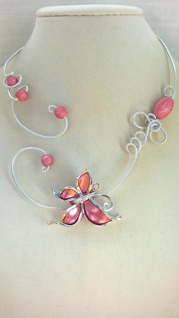 Pink wedding necklace pink bridesmaid necklace butterfly