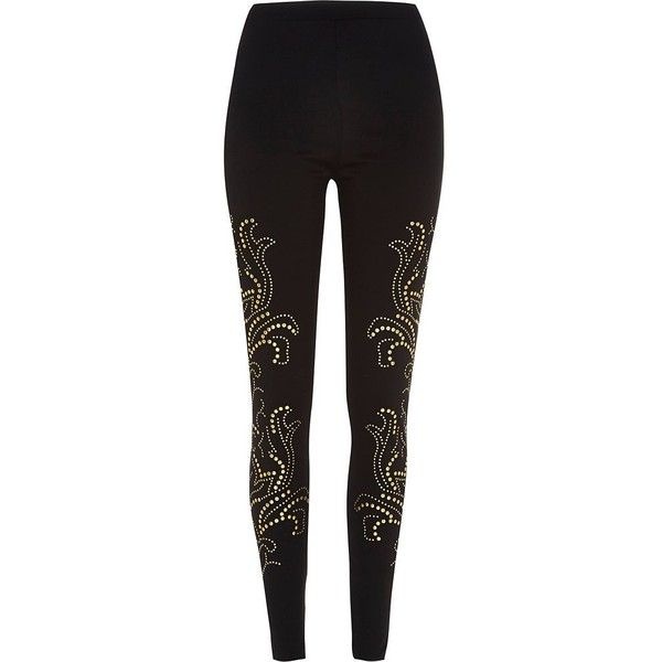 River Island Black gold tone studded leggings ($16) ❤ liked on Polyvore featuring pants, leggings, sale, highwaist pants, high-waisted trousers, high-waisted pants, high-waist trousers and embellished leggings