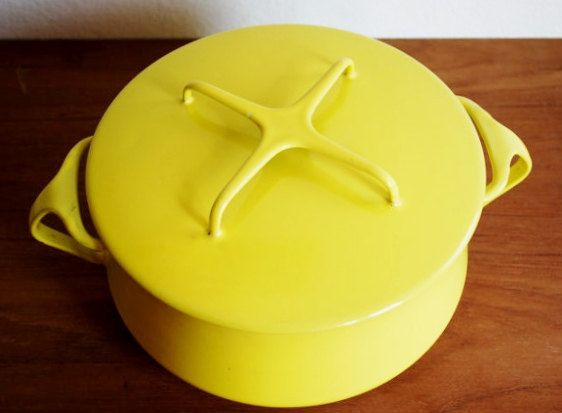 Vintage Dansk Yellow Enamelware Pot with lid by KathyLivesVintage