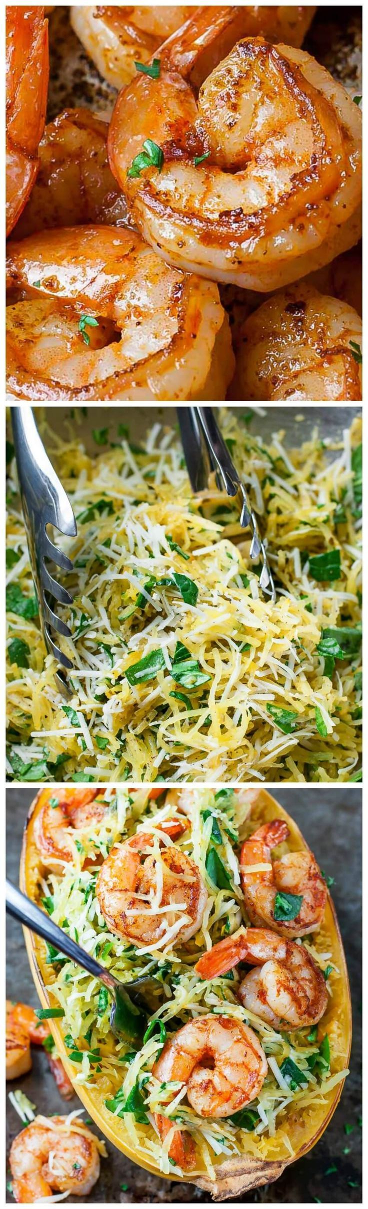 Serve up dinner for two in style with this Pesto Parmesan Spaghetti Squash with Shrimp! Tender strands of squash tossed with spinach, pesto, and parmesan, then topped with the most delicious seasoned