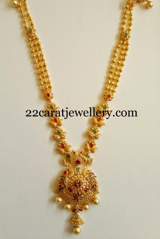 Jewellery Designs: Simple Fancy CZs and Peacocks Haram