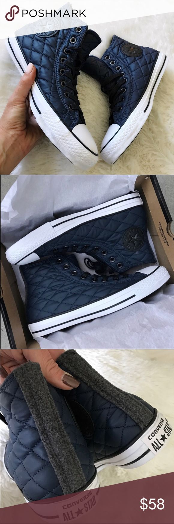 NEW ☃️ CHUCK TAYLOR ALLSTAR SZ 9 women COZY TREATS FOR YOUR FEETS ☃️ NEW WITH BOX 👣 CONVERSE CHUCK TAYLOR CONVERSE ALL STAR. NEW NEVER WORN. Unisex shoe. This is men's size 7 | women's size 9  Take your chucks game to a whole new level with these. QUILTED NAVY NYLON WITH GREY FLEECE DETAILS.   Ships same or next day in FULL original converse box. Smoke free home. PERFECT FOR GIFT GIVING 🎁  Bundle items to save. Shop with posh and don't pay the sales tax! 🤑  100% AUTHENTIC AND DIRECT FROM…