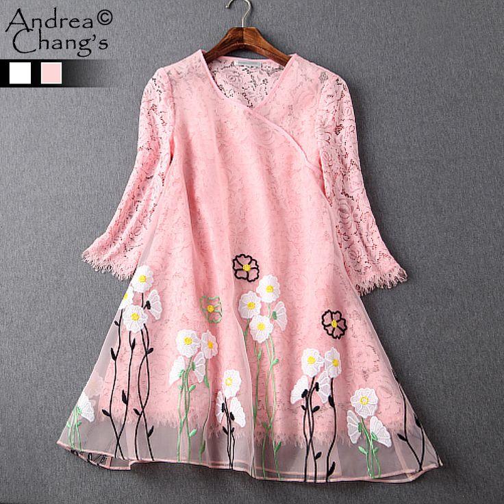 İlkbahar yaz pist tasarımcı kadın elbiseler yüksek kalite pembe beyaz gevşek çiçek nakış tül kabuk dantel astar marka elbise(China (Mainland))