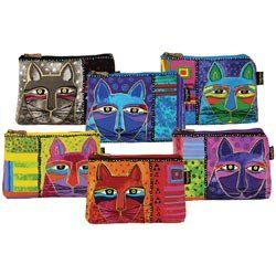 Laurel Burch LB5321 Zipper Top Cosmetic Bag, 9-1/4 by 6-3/4-Inch, Whiskered Cats (Colors May Vary)