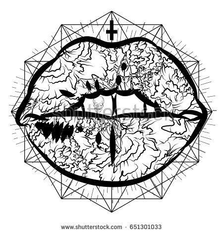 Mystical tattoo lips. Dark print.  Tattoo design, trendy romance symbol for your t-shirt.  Vector illustration eps 10.