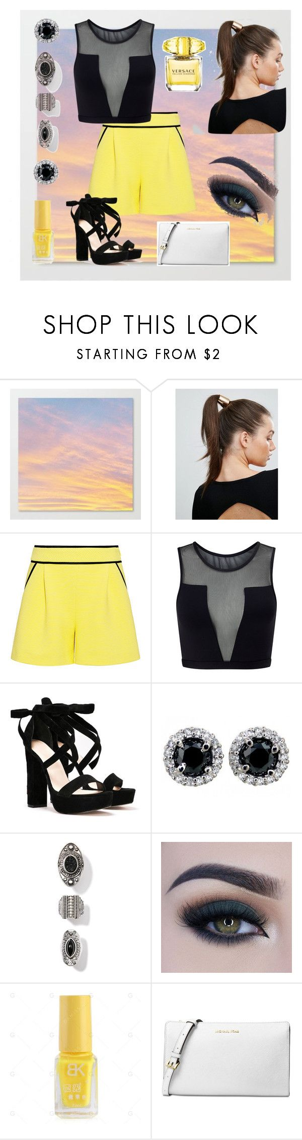 """""""Yellow!!! Favorite color!!! 💛☀️"""" by joziee ❤ liked on Polyvore featuring Johnny Loves Rosie, A.L.C., Varley, Nasty Gal, Too Faced Cosmetics, Michael Kors and Versace"""