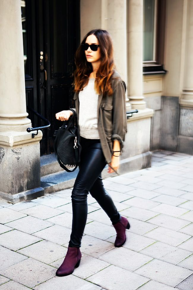 Black leather pants + burgundy ankle boots