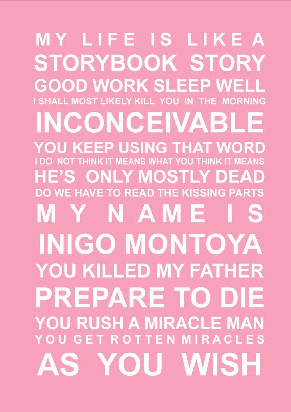 Princess Bride quotes  A5 Subway  Art Print by HarperGrace on Etsy, $8.95