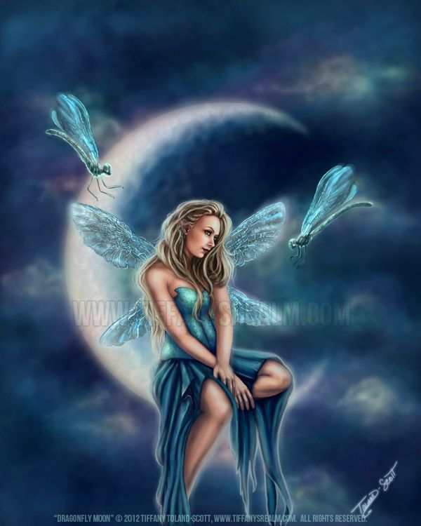 Dragonfly Fantasy Art | Dragonfly Blue Moon Fairy Faerie Fantasy Art Painting Print 16x20 ...