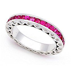 Platinum Pave set Diamond and Ruby Eternity Wedding Band Ring (G-H/SI, 2/5 ct.)