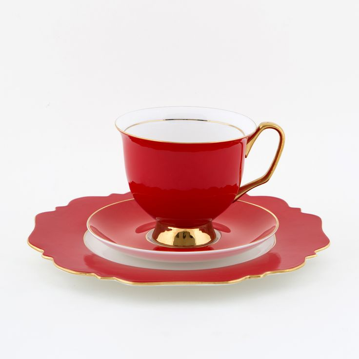 The #Big #Red #375mL #XL #Teacup and #Saucer #Set with #Heat of #Gold #Sideplate | The #bigger, #better, teacup! Get yours today at #lyndalt.com