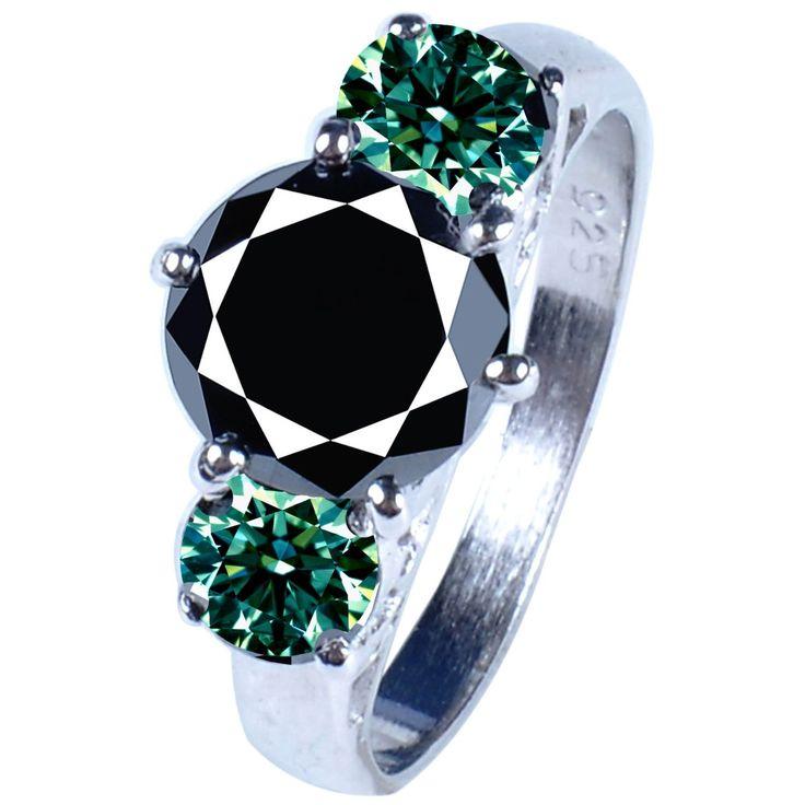 Anillo De Compromiso Diamates Negro Y Verde 2.82 Ct. - $ 7,590.00 en MercadoLibre