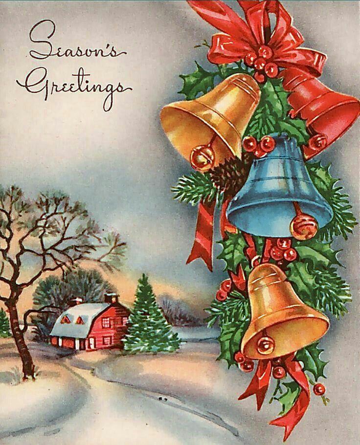 Новогодняя открытка колокольчики