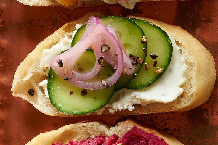 Pickled Shallot and Cucumber Crostini
