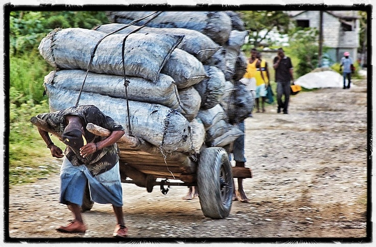 http://www.haitigotit.com/ Sisyphus de Leogane Leogane, Haiti 2.10.12 Photographer: Gregory S. Henderson This is heartbreaking to me. These men only live on average 7 years once they start doing this heavy lifting and pulling.
