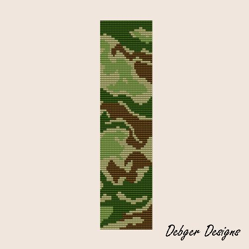 loom beading patterns bracelets | Camouflage Loom Bracelet Cuff by Debger Designs