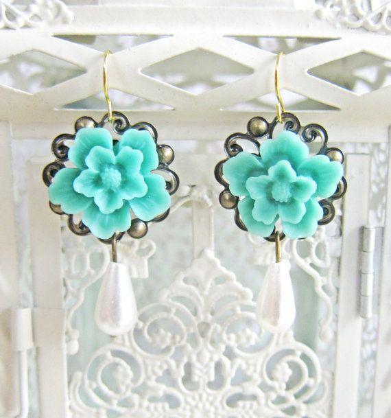 Turquoise Flower Earrings Tiffany Blue Jewelry by Jewelsalem, $12.00