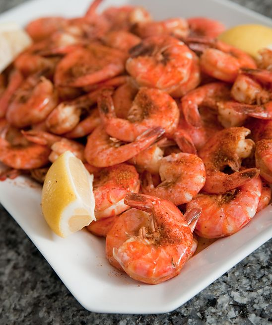 Classic Maryland-Style Steamed Shrimp With Old Bay, dipped in melted butter! Zero carbs!