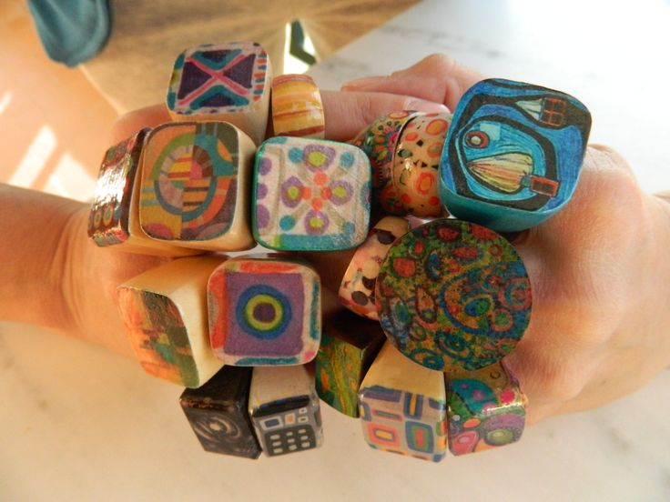 colourfull decoupage rings!  -by marianna panaretou www.facebook.com/NanipanArt