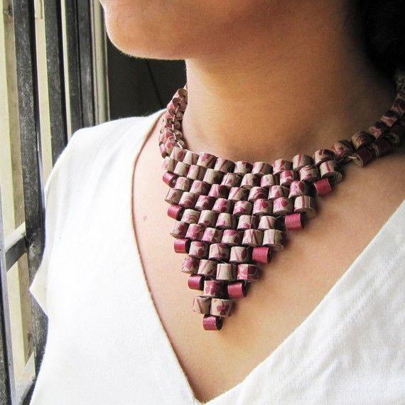 Floral collier Peyote - 1er anniversaire cadeau - bijoux de papier - premier…