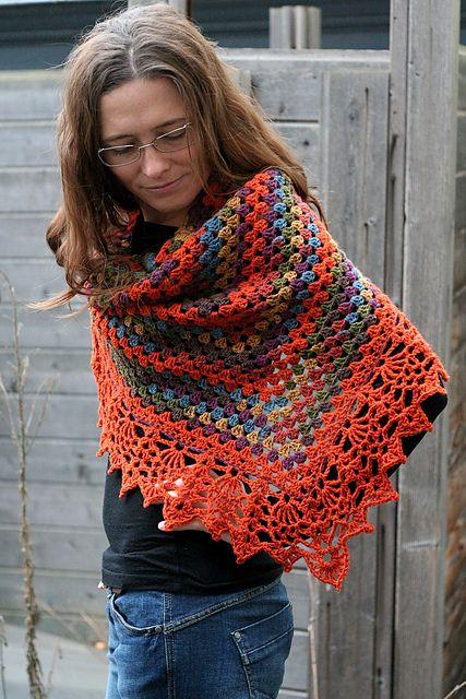 half granny shawl with the All Shawl edge ...