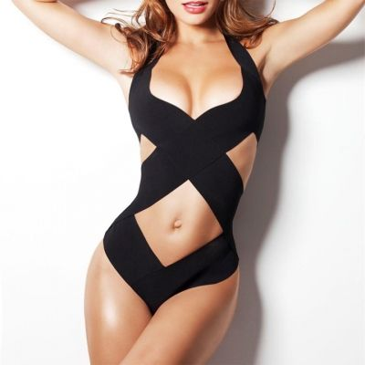 Black Stylish Lady Women Sexy V-Neck Halter Hollow Cross Bandage One Piece Beach Swimwear | cndirect.com