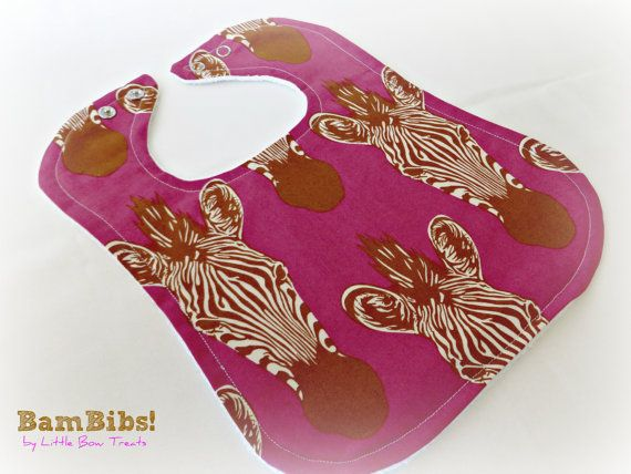 Organic Bamboo Baby Infant Toddler Bib Africa Zebra Hot Pink Super Soft Absorbent Children Feeding, Dribble. Practical Fashionable