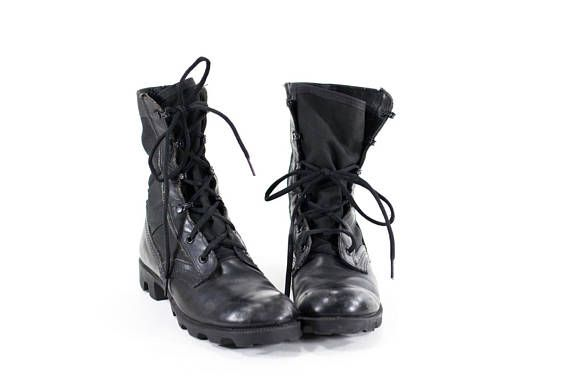 Vintage 90s Military Boots Black Leather Combat Boots Womens