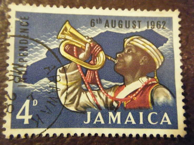 Jamaica Independence 4 cent vintage postage stamp August 6 1962 Horn