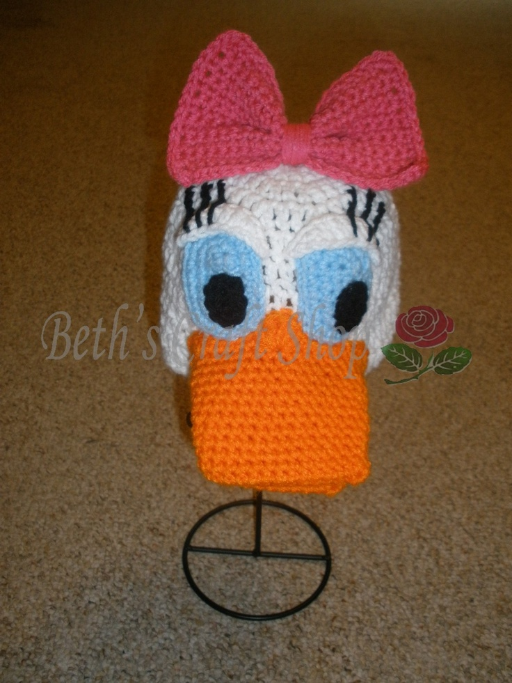 Baby Duck Hat Knitting Pattern : Disney Daisy Duck Crochet hat MADE TO ORDER by bethscraftshop disney Pint...
