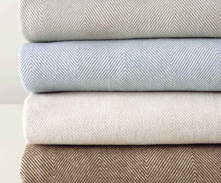 HARRY blankets. Super soft cotton blanket in a classic herringbone pattern. All colors in f/queen or king. $180 - I want it in Almond!