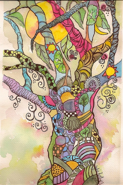 Doodle rainbow tree - Excellent combination of ink and watercolor. Might have to try doing one myself.