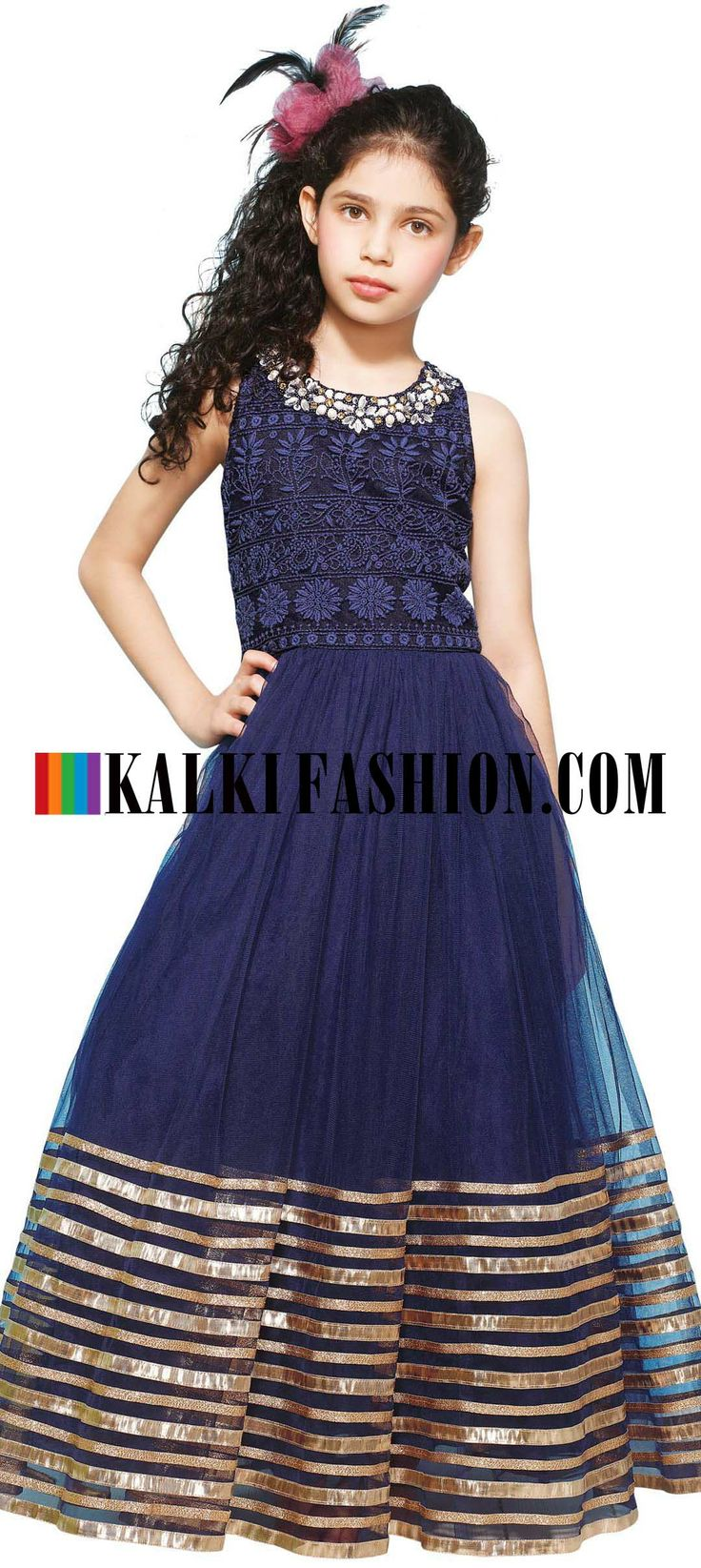 Buy Online from the link below. We ship worldwide (Free Shipping over US$100) http://www.kalkifashion.com/blue-gown-featuring-with-thread-embroidered-yoke.html