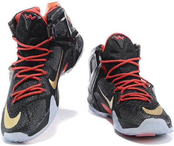 Lebron 12 P.S Elite Black Gold Fire Red Shoes0 | Nike Lebron 12 Mens shoes  for sale | Pinterest | Black gold, Red shoes and Nike lebron