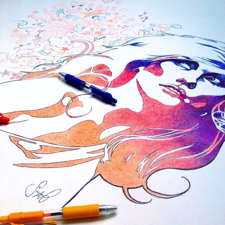 Debbie Harry, drawn in biro