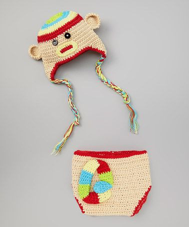 Look what I found on #zulily! Beige & Red Monkey Crochet Earflap Beanie & Diaper Cover by chéri by Bébé Oh La La #zulilyfinds