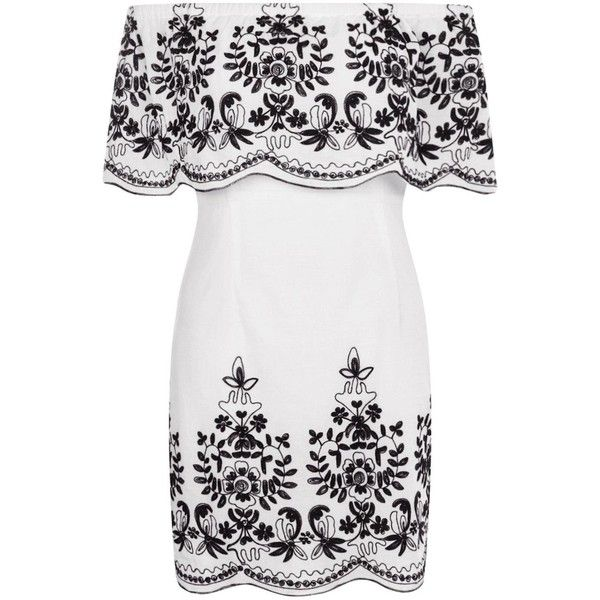 Boohoo Petite Mel Embroidered Hem Bodycon Dress ($13) ❤ liked on Polyvore featuring dresses, white embroidered dress, body con dresses, petite white dresses, petite bodycon dresses and bodycon cocktail dresses
