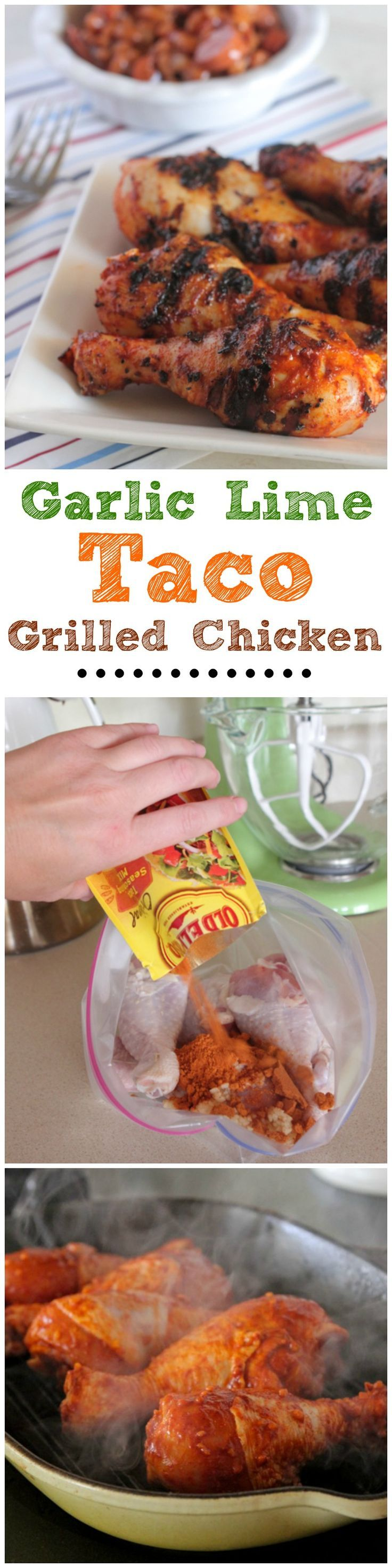 Garlic Lime Taco Grilled Chicken!  Simple summer grilling recipe! #chicken #dinner #grill