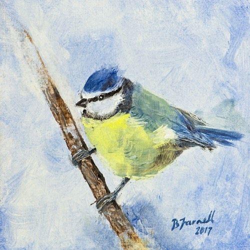 Blue tit Oil painting by Ben Farnell  http://ift.tt/2AgNjvo  http://ift.tt/2mliUG8  #birdartben #oilpainting #bluetit #etsy #birds #birdart