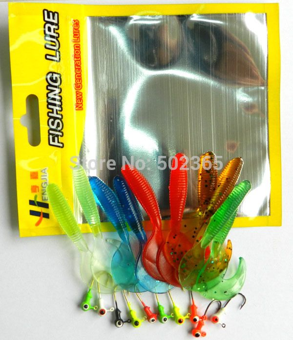 20sets 10 soft bait small 10 lead head hook carp lure With fishing tackle bag Worm Fishing Lure Grub fly Fishing Lures Tube Kits