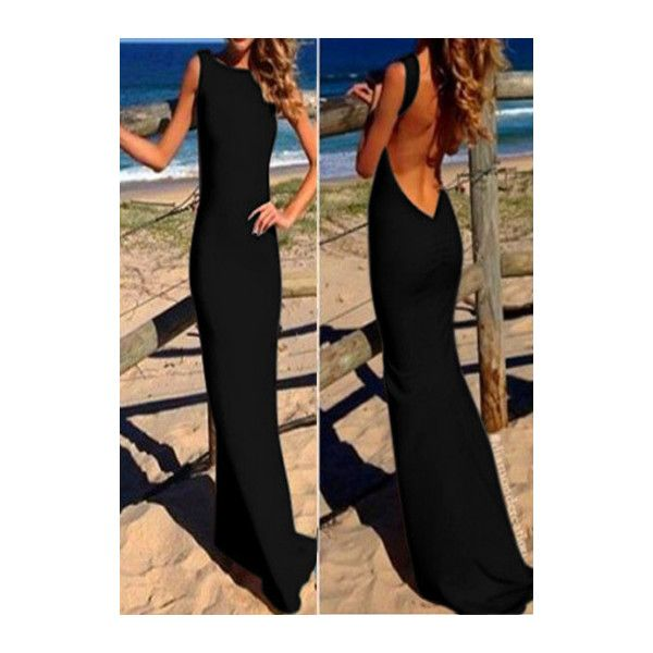 Rotita Black Sleeveless Open Back Maxi Prom Dress ($21) ❤ liked on Polyvore featuring dresses, gowns, black, black ball gown, sheath dress, prom dresses, black gown y black prom gowns