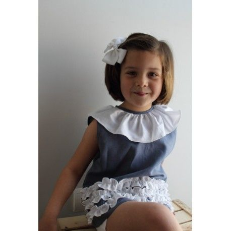 Blue and white blouse. From 18 months to 8 years old #kidsfashion #childrenfashion