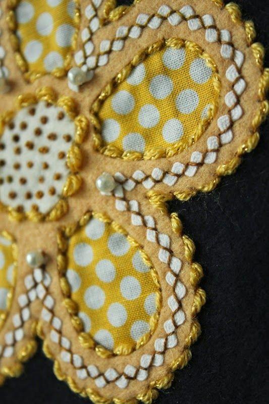 Fellowship of the Flowers - Week 24  www.theraspberryrabbits.blogspot.com  reverse wool applique, folk art fusion