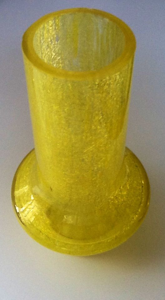 Karcag yellow foam-glass vase from the 1950'