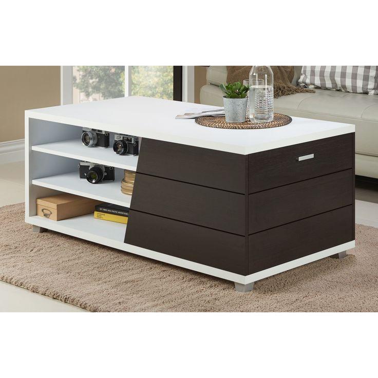 Furniture Of America Sorenson Contemporary Two Tone Multi Shelf White/Espresso  Coffee Table (White U0026 Espresso)