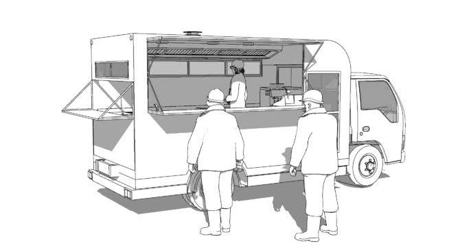 Workers at food van - 3D Warehouse