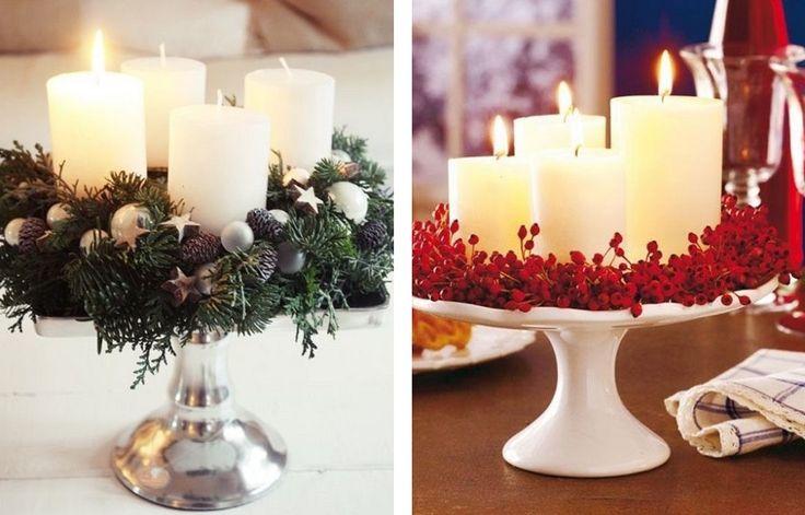 Stroik świąteczny z igliwia, szyszek i białych świec dekoracyjnych;Stroik świąteczny z ostrokrzewu i białych świec dekoracyjnych