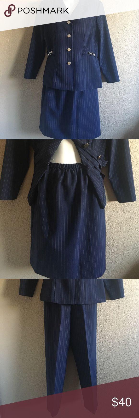 3pc suit set feminine - flattering Navy blue striped 3pc suit set , used condition, great condition, ( smoke free home ) Skirts Pencil